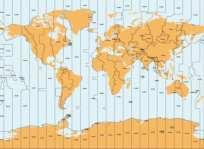 Mapa Mundi Timezones
